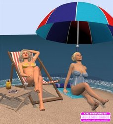 Cuprum's 3D Lesbo Babes-Two lesbi blondes on the small island