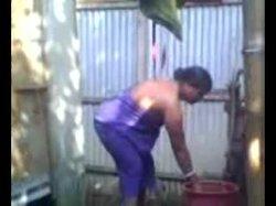 Bathing indian aunty